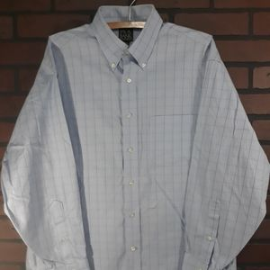 Jos A Bank Mens Blue Check Longsleeve Shirt 16.5